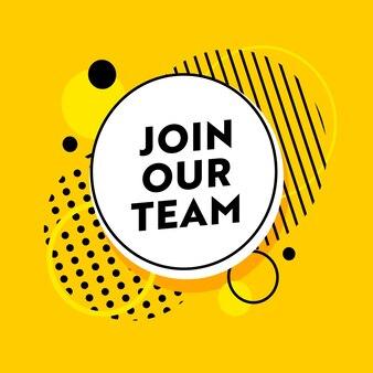 Treten sie unserem team-banner für job hiring agency mit abstraktem muster auf gelb bei
