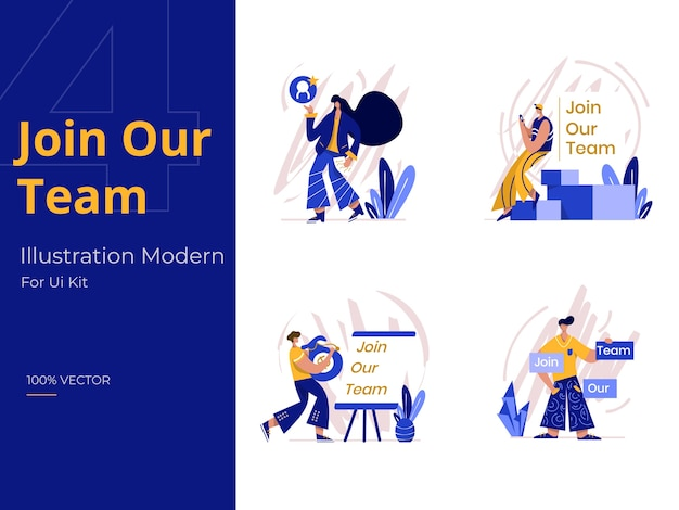 Treten sie unserem team illustration bei, dem konzept der rekrutierung