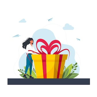 Treueprogramm für stammkunden concept.business-konzept. frau hält große geschenkbox. frau mit einer geschenkbox. geschenk für den urlaub. mädchen, das neben großem geschenk steht. vektor-illustration