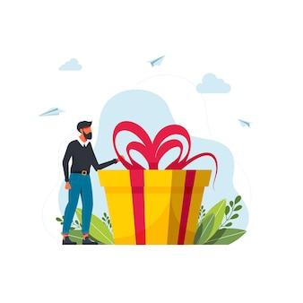 Treueprogramm für stammkunden concept.business-konzept. mann hält große geschenkbox. vektor-flache cartoon-illustration. mann mit einer geschenkbox. geschenk für den urlaub. mädchen, das neben großem geschenk steht.