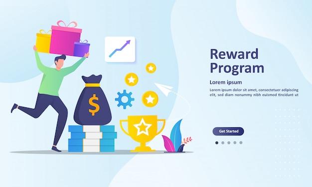 Treueprogramm und belohnungen landingpage-vorlage