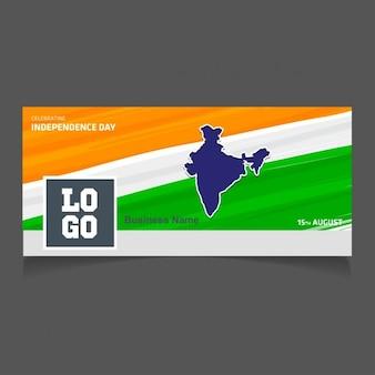 Tri color flagge hintergrund mit land auf karte indien facebook covers
