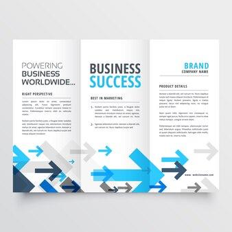 Tri-fold-broschüre design in kreativen business-pfeile stil