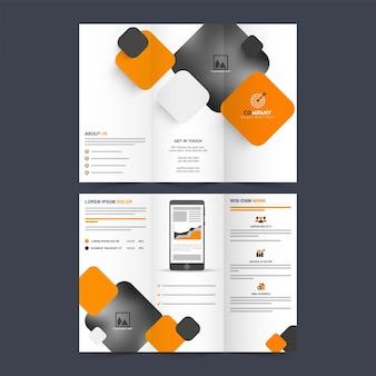 Tri-fold broschüre design mit platz für ihre bilder, professional broschüre design mit abstrakten quadraten, vector für business-konzept.