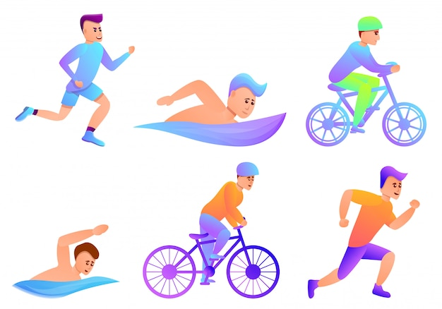 Triathlon-set im cartoon-stil