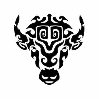 Tribal bison kopf logo tattoo design schablone vektor illustration
