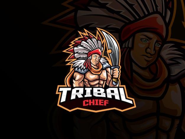 Tribal chief maskottchen esport logo. maskottchen-logo des stammes-kriegers. stammeshäuptlingsmaskottchen mit waffe für das esportteam.