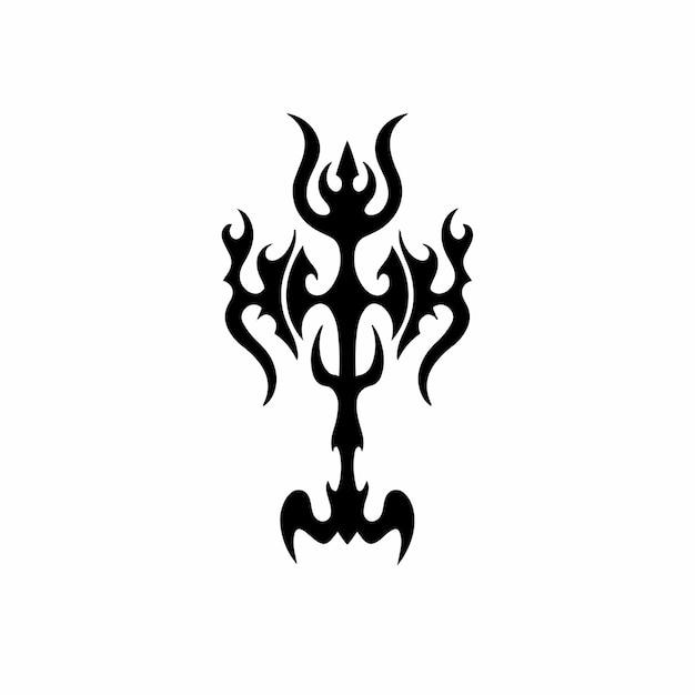 Tribal christian cross logo tattoo design schablone vektor illustration