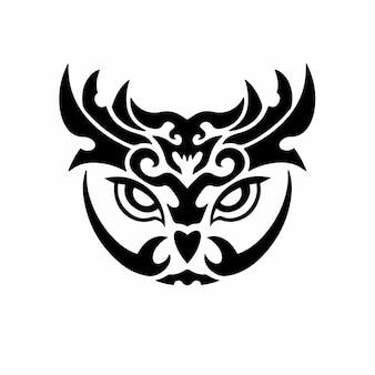 Tribal eulenkopf logo tattoo design schablone vektor illustration