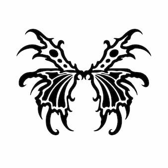 Tribal fairy wings logo tattoo design schablone vektor illustration