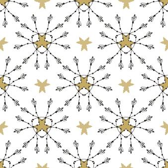 Tribal muster mit goldenen sternen. nahtloser vektordruck.