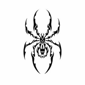 Tribal spinnenkopf logo tattoo design schablone vektor illustration