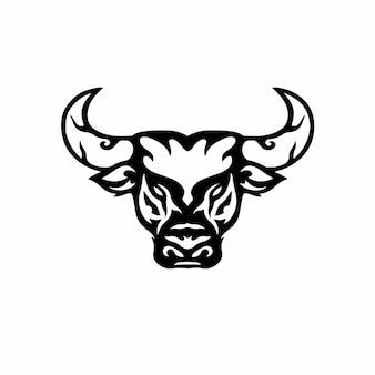 Tribal stierkopf logo tattoo design schablone vektor illustration