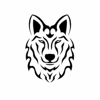 Tribal wolf kopf logo tattoo design schablone vektor illustration