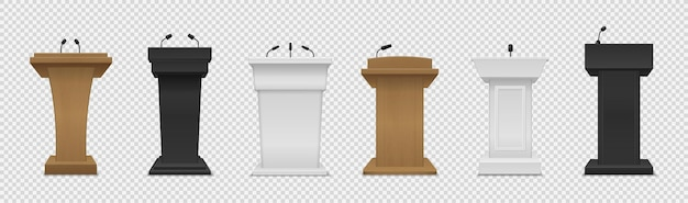 Tribüne eingestellt. realistisches podium in verschiedenen farben mit mikrofonvorderansicht, podest für vortrag, preisverleihung, presseinterview und politische debatte 3d-leere plattform für vektorisolierte lautsprecherset