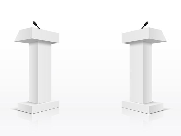 Tribünen-tribünenstände des weißen podiums