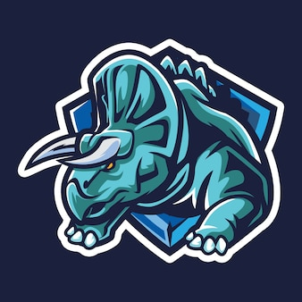 Triceratops esport logo illustration