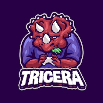 Triceratops gaming mascot logo vorlage