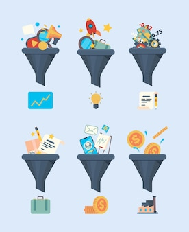 Trichterverkäufe. geldgenerierung symbol business marketing konzept illustration von handelssymbolen filtertrichter vektor flache bilder flat