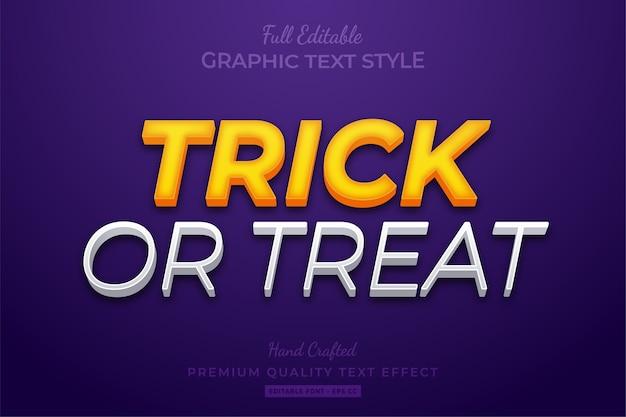 Trick or treat bearbeitbarer 3d-textstil-effekt premium