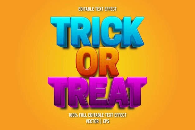 Trick or treat bearbeitbarer texteffekt-cartoon-stil