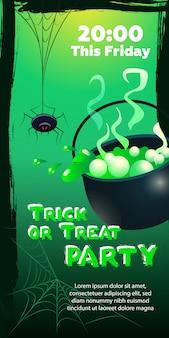 Trick or treat party dieser freitag schriftzug. spinne und kessel