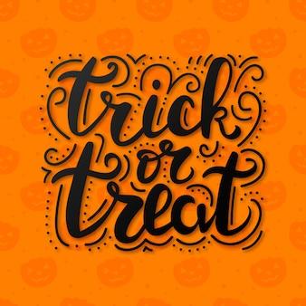 Trick or treat schriftzug auf abstraktem hintergrund mit kürbissen.