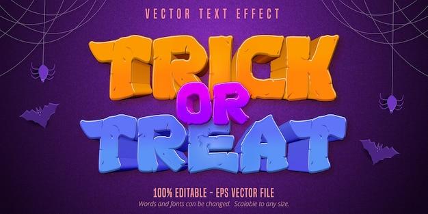 Trick or treat text, bearbeitbarer texteffekt im halloween-stil auf lila strukturiertem hintergrund
