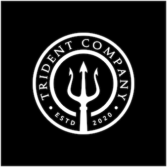 Trident neptun god poseidon triton king shiva spear label logo-design