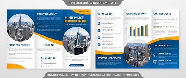 Trifold-broschürenvorlage im sauberen stil