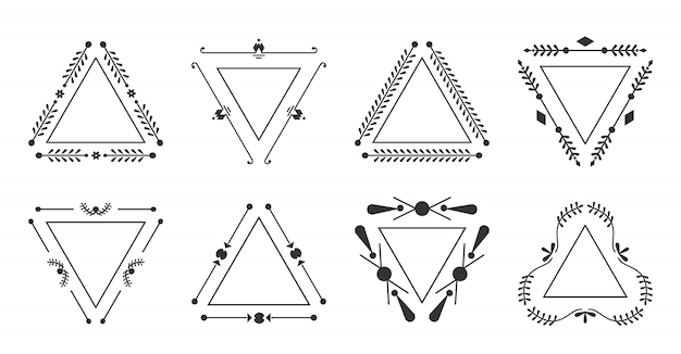Trigonaler rahmen eleganter ziersatz. steinhornrahmen isoliert auf weiß