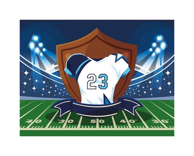 Trikot des amerikanischen fußballs, t-shirt sport auf stadiongras
