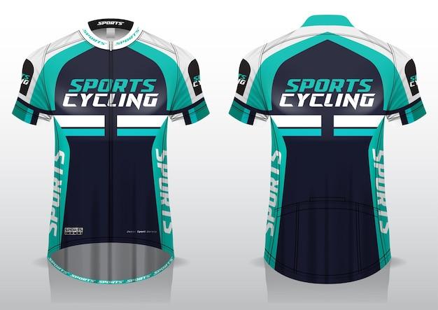 Trikot für den fahrradsport, das einheitliche design der vorder- und rückansicht Premium Vektoren