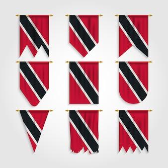 Trinidad und tobago flagge in verschiedenen formen