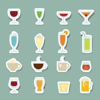 Trinken sie die eingestellten ikonen