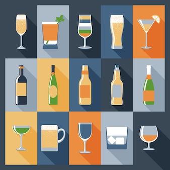 Trinken sie flache ikonen