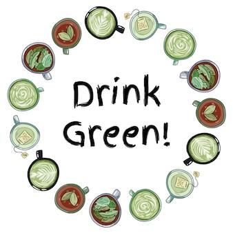 Trinken sie grün. dekorativer kranz aus tassen grünem und kräutertee