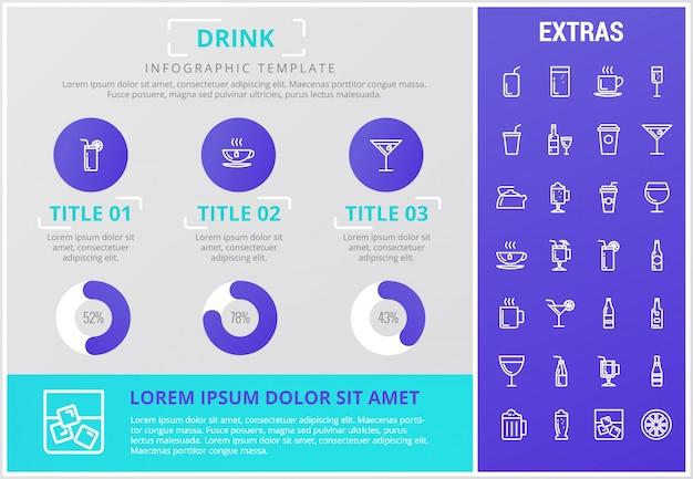 Trinken sie infografik vorlage, elemente und symbole