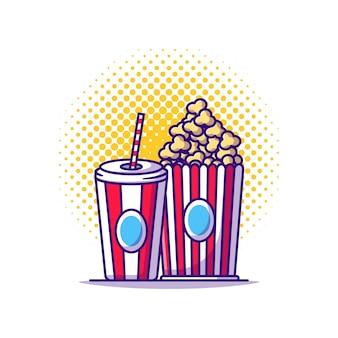 Trinken und popcorn-cartoon-illustration. cinema icon concept weiß isoliert. flacher cartoon-stil