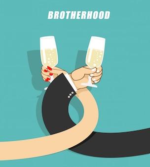 Trinkender champagner des mannes und der frau