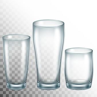 Trinkglasbecher leeren. transparentes glas.