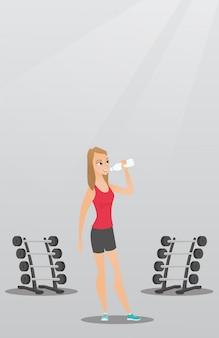 Trinkwasser der sportlerin