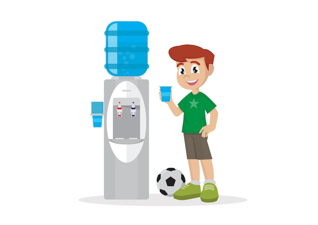 Trinkwasser des jungen im wasserkühler.