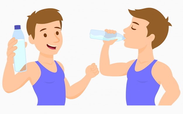 Trinkwasser des jungen mannes von einer flasche