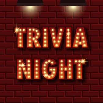Trivia-nacht-ankündigungsplakat vintage-stil glühbirnenkasten buchstaben, die auf dunklem hintergrund leuchten