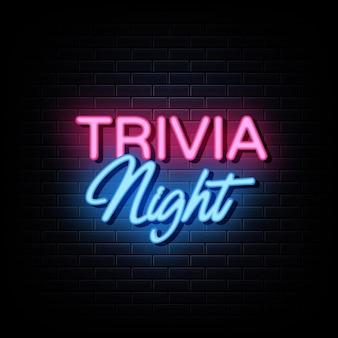 Trivia nacht leuchtreklamen design vorlage leuchtreklame