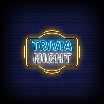 Trivia night neon signs style text