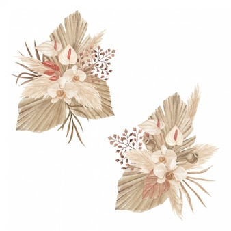 Trockenblumenarrangement mit pampasgras, palmenspeer, callalilie und orchidee
