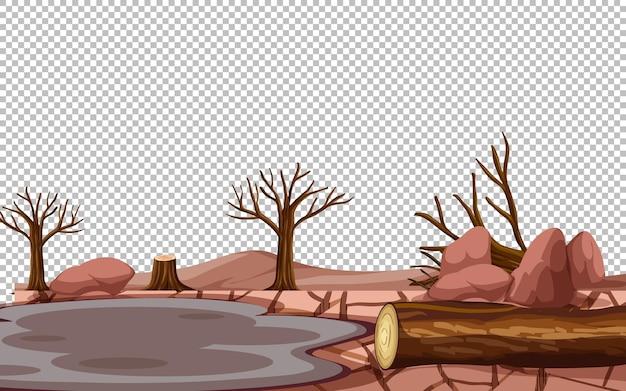 Trockene rissige landlandschaft auf transparentem