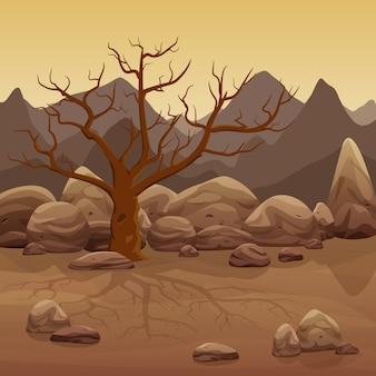 Trockene steinwüstenlandschaft der karikatur mit bloßem baum und bergen